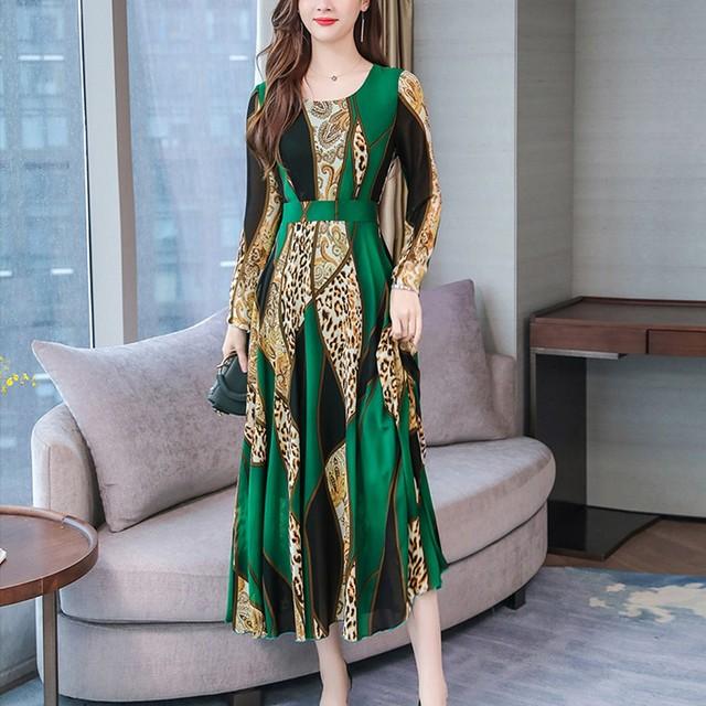 Office Lady Dress Women Spring 2020 Long Sleeve Plus Size Dress O-neck Elegant Floral Print Evening Party Dresses Vestidos #B
