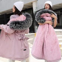 Winter Jackets Coat Parkas Lamb Faux-Fur Women's Hair-Liner Warm Long Cotton Belt Big