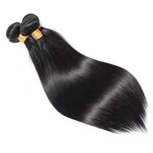 Image 4 - Lanqi ישר שיער חבילות עם סגירת שיער טבעי מארג 2 4 חבילות עם סגירה פרואני שיער חבילות עם סגירת שאינו רמי