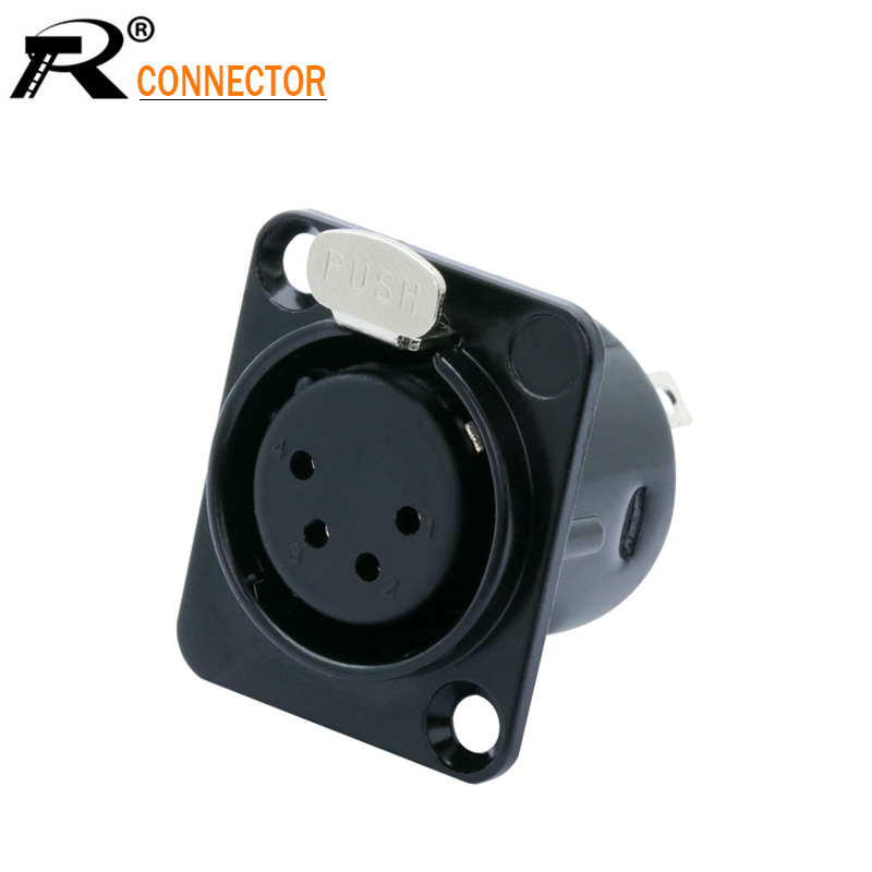 1PC Metal 4 PIN XLR Female Chassis Connector Push-type XLR Panel Mount Wire Connector Audio Speaker Jack Socket 4pole Conector