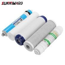 Filtros de água de substituição osmose ro, 5 estágios, conjunto de substituição com filtro de água, cartucho de 75g, membrana, purificador de água doméstico