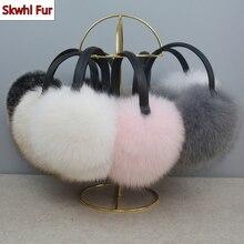 Real Fox Raccoon Fur Hang Ear Cover Warm Winter Earmuffs Headwear Earmuffs Earmuffs Cold Ear Warmer Ear Protection Headband