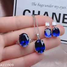 KJJEAXCMY boutique jewelry 925 sterling silver inlaid Natural sapphire gemstone Necklace Ring Earring Suit Support detection sapphire natural loose gemstone oval 7x9mm faceted beads for inlaid silver 925 jewelry making ring necklace diy icnway