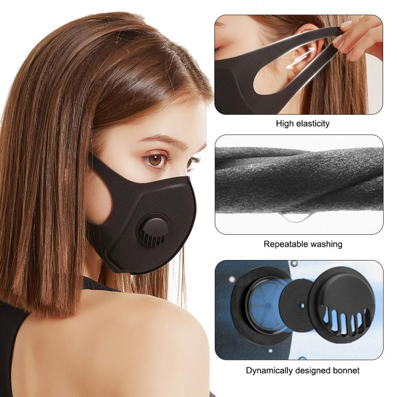 1PC Reusable Mouth Face Masks With Breathing Valved Anti Dust Breathable Anti Ear Pain Facial Mask Respirator With Filter TSLM1 2