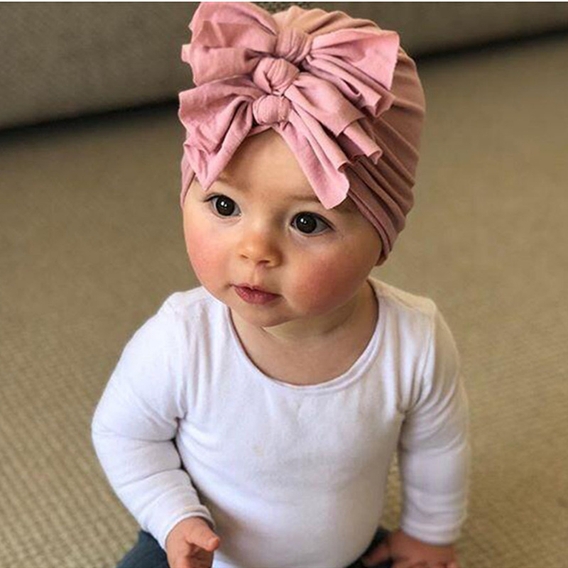 New Winter Autumn Baby Girls Hat Bow Cotton Knitted Knot Warm Children Hat Kids Newbworn Bonnet Cap Beanie Cute Headwear
