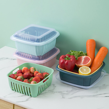 Kitchen Covered Double-dried Fruit Vegetable Box PP Material Washing Drain Basket Preservation