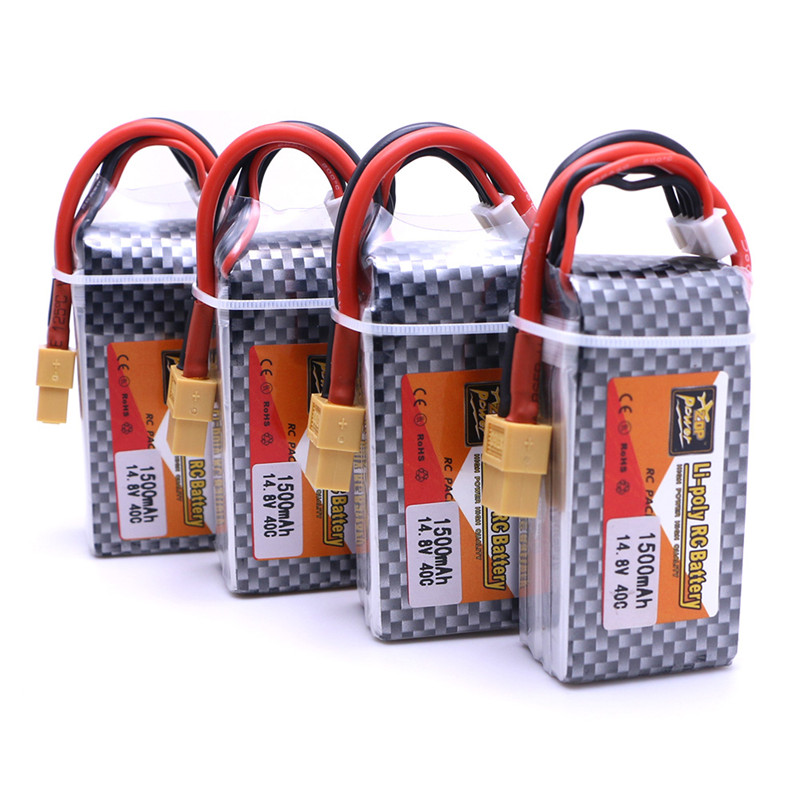 4pcs/lot <font><b>4S</b></font> Battery <font><b>lipo</b></font> <font><b>1500mAh</b></font> 14.8V <font><b>Lipo</b></font> Battery charger <font><b>100C</b></font> Pack <font><b>lipo</b></font> with XT60 Plug for RC Car Truck Airplane FPV Racing image