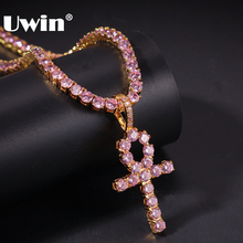 UWIN 4mm Pink Iced Ankh Cross Pendant Cubic Zirconia Tennis Chains Gold Silver Color Necklace Colored Fashion Hiphop Jewelry