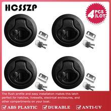 """4 Pcs 2"""" Plastic Flush Pull Slam Latches Lift Ring Handle Marine Boat Round Deck Lock with Key RV Boat Yacht Parts Accessories"""
