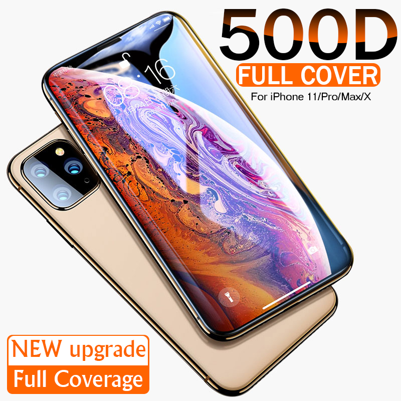 500D Curved Edge Protective Glass On The For IPhone 7 8 6 6s Plus Tempered Screen Protector For IPhone 11 Pro X XR XS Max Glass