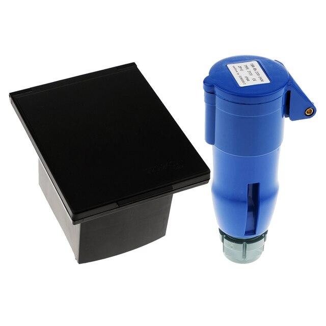 RV Camper 220V-240V 16A External Flush Hook Up Waterproof  Plug Socket 2