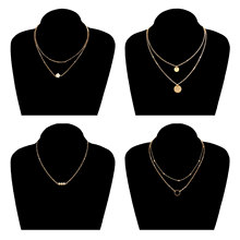 4 Pcs/ Set Multilayer Clavicle Choker Chain Necklace Round Sequins Beads Pearl Elegant Statement Jewelry