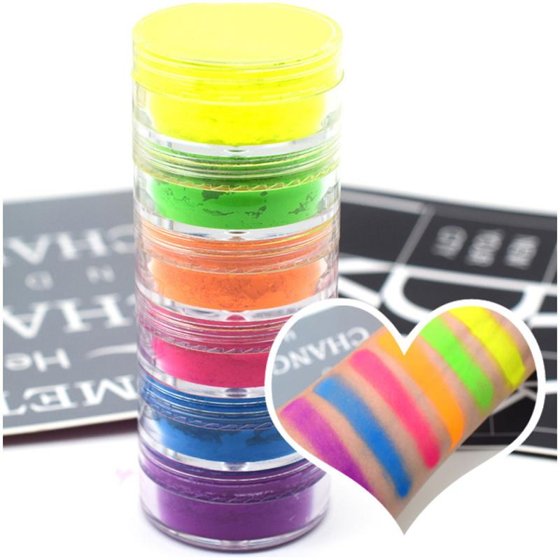 6 Colors Mixed Neon Powder Eyeshadow Matte Mineral Sequin Nail Powder Shimmer Shiny Eyeshadow Cosmetic Makeup Tools Accessories