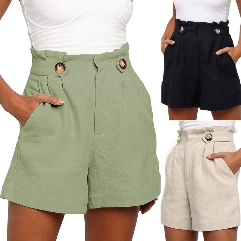 S-XXL New Women's Shorts Wild Casual High Waist Loose Cotton Linen Wide Leg Shorts Feminino Mujer Jeans Bermuda Sexy Spodenki