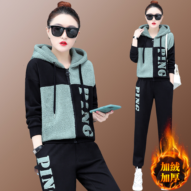 Lamb Cashmere Suit Tracksuit For Women Outfits 2 Two Piece Set Plus Size Large Thick Warm Hoodies Pantssuit Winter Fall Clothes