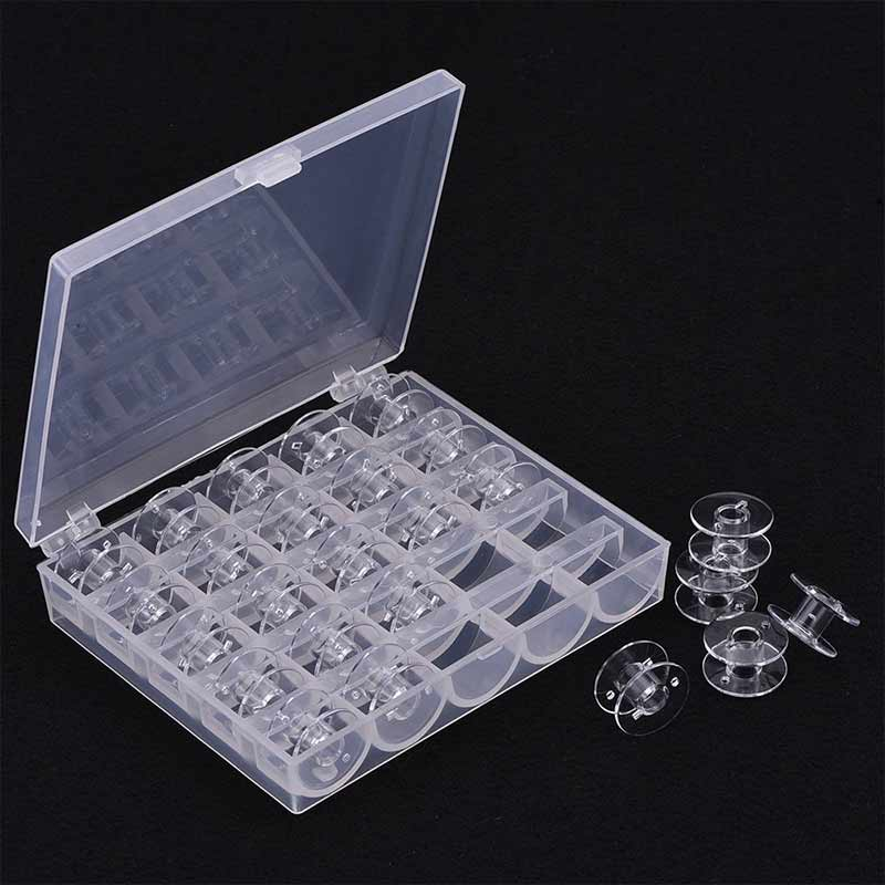 High 25Pcs Empty Bobbins Sewing Machine Spools Clear Plastic With Case Storage Box For Brother Janome Singer Elna   UEJ