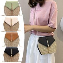 Hexagon Straw PU Handbags Women Summer Casual Rattan Shoulder Crossbody Bag Simple Style Flap Beach Bag curved straw flap bag