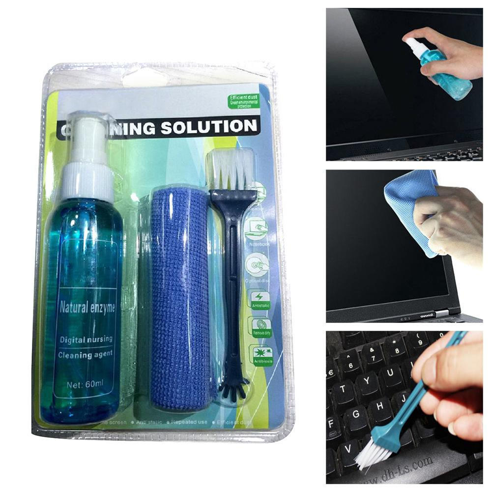 Laptop Computer Cleaning 3-Piece Set Cleaning Solution Mobile Phone SLR Camera Household Appliances Cleaning Cloth