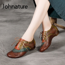 Ladies Shoes Shallow Flats Women Retro Johnature Round-Toe Lace-Up Genuine-Leather Casual