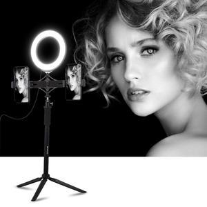 "Image 5 - 55cm Aluminium Tripod + 6.2"" 16 cm LED Ring Light for Makeup Vlog Video Live Stream + Dual Mobile Phone Holder for Redmi 7 iphon"