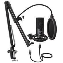 Fifine estúdio condensador usb microfone do computador kit com ajustável scissor braço suporte de montagem choque para youtube voz Overs-T669