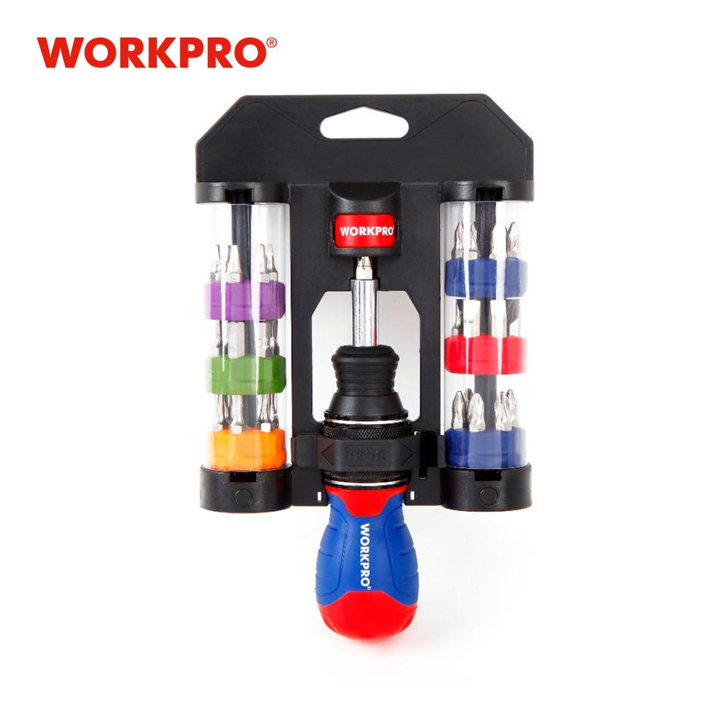 WORKPRO 38 In 1 Screwdrivers Multipurpose Screwdriver Set Stubby Ratchet Screwdriver With Bits