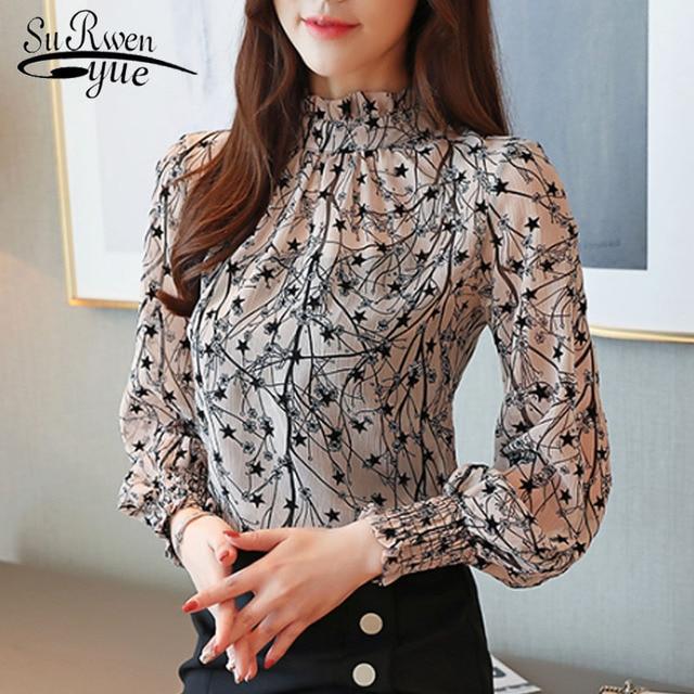 2019 Autumn Fashion Women Chiffon Blouses Casual Stand Collar Floral Women Clothing Long Sleeve Printed shirt Women Tops 6197 50
