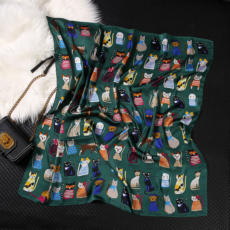 2020 New Women Fashion Square Scarf Cat Print Silk Scarves And Wrap Ladies Retro Spring Summer Office Hair Neck Foulard Hijab Sc