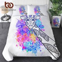 BeddingOutlet Giraffe Bedding Set Watercolor Art Duvet Cover Animal Bed Set Rainbow Colorful Bedclothes Floral Parure De Lit
