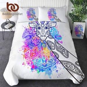 Image 1 - BeddingOutlet zürafa nevresim takımı suluboya sanat nevresim hayvan yatak takımı gökkuşağı renkli yatak örtüsü çiçek Parure De yaktı