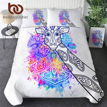 Beddingoutlet girafa conjunto de cama aquarela arte capa edredão animal conjunto rainbow colorido roupas floral parure de lit