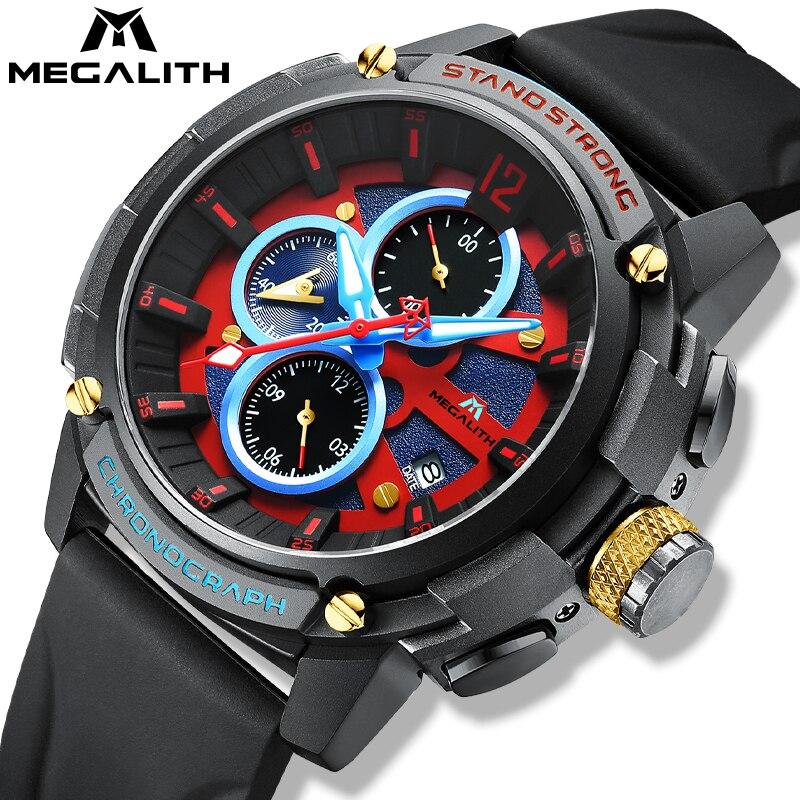 MEGALITH модные спортивные часы мужские 30 м водонепроницаемые мужские военные кварцевые часы лучший бренд класса люкс светящийся хронограф му...