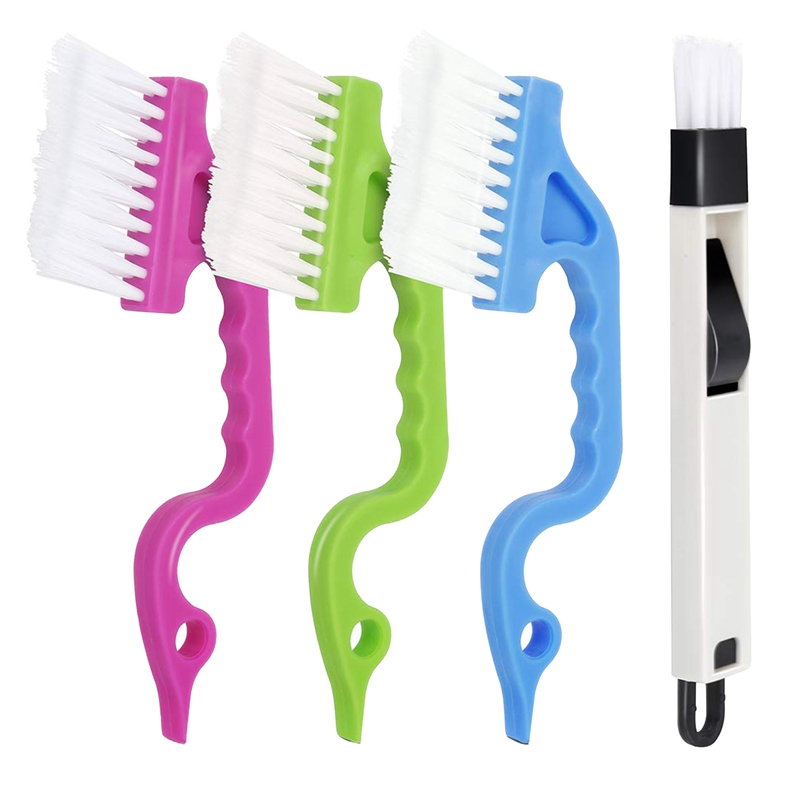 Hand-Held Groove Gap Cleaning Tools Door Window Track Cleaning Brushes Air Conditioning Shutter Cleaning Brushes Pack Of 4