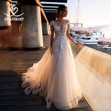 Mode Appliques dentelle robe De mariée chérie a ligne Boho Vestido De Noiva fleurs Court Train robe De mariée swanjupes k307