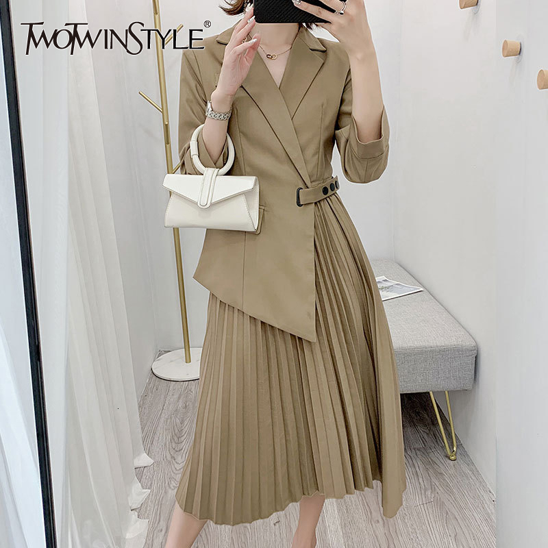 TWOTWINSTYLE Asymmetrocal Dress For Women Notched Long Sleeve Plus Size High Waist Dresses Female Fashion Autumn New 2020