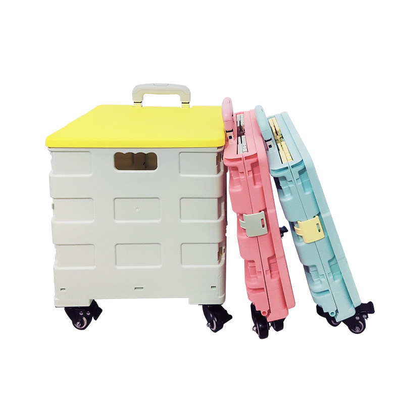 Four Wheel Convenient Folding Crate Shopping Trolley Bag Box Foldable Rolling Cart with Lid Shopping Storage Cart Large-capacity