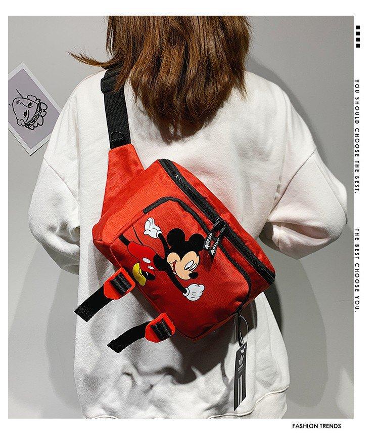 Disney Cartoon Student Sports Waist Bag Korean Unisex Net Red Mickey Same Large Capacity Messenger Bag