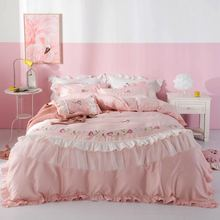 white and red embroidered egyptian cotton house de couette and pillow cases bedding set duvet cover Pink embroidered 800TC Egyptian cotton bedding set king duvet cover and pillow cases