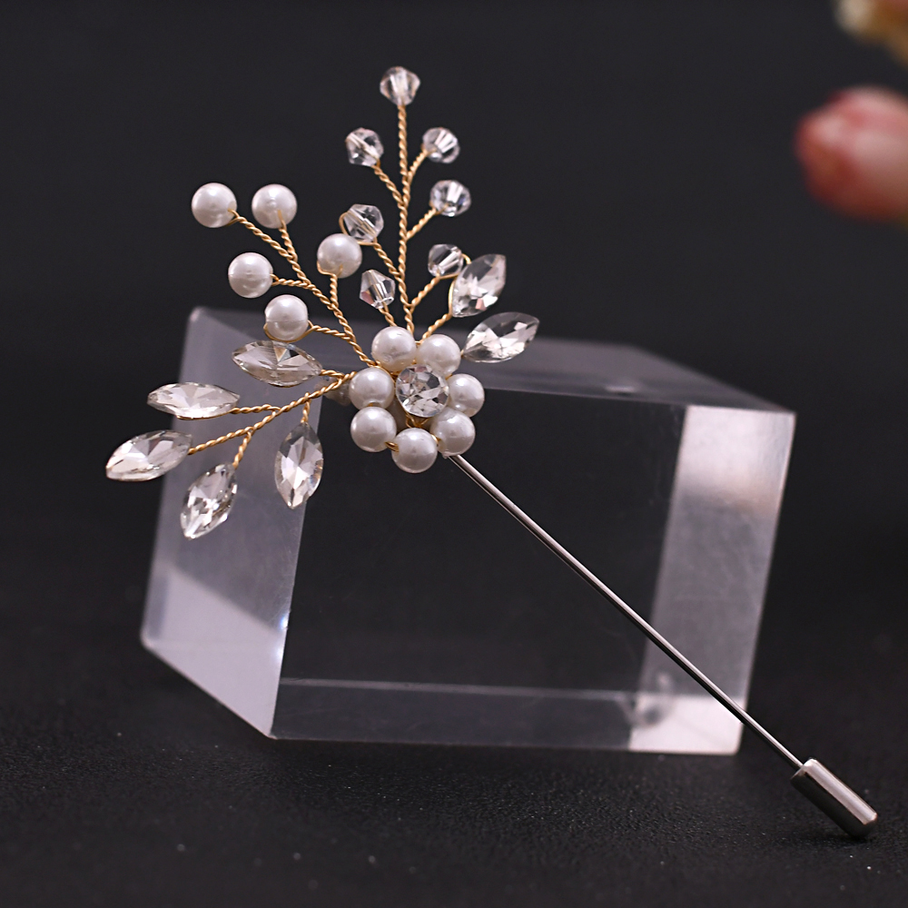 YouLaPan Elegant And Fashionable Rhinestone Crystal Brooch Wedding Men's Jewelry Accessories Silver Brooches For Women HXZ09