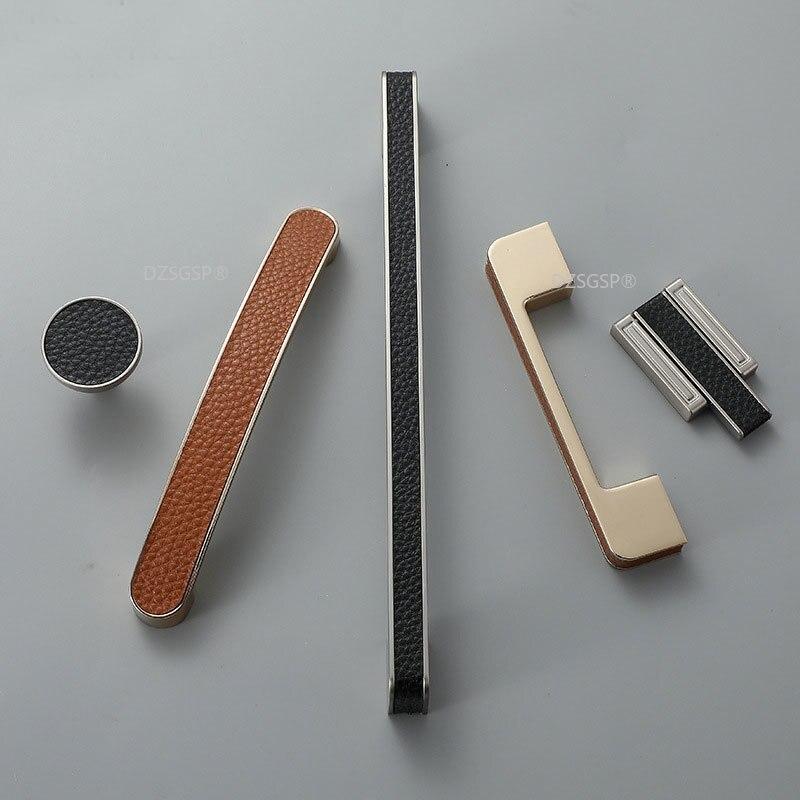 Европейский модный комод для гардероба, ручки для ящиков шкафов, ручки из цинкового сплава и кожи, коричневый, черный, кухонный шкаф, фурниту...