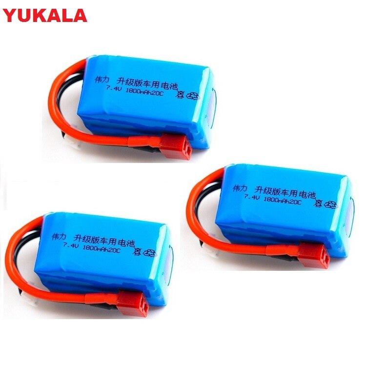 YUKALA 7.4V 1800mah 2S 20C Lipo Upgrade Battery Max 40C For Wltoys A959-b A969-b A979-b K929-B RC Car Parts 7.4 V 1800 Mah