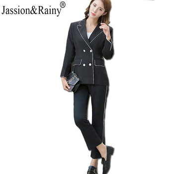 Jassion&Rainy color contrast edge Long Sleeved Jacket Pants Double breasted Button Pocket slim Women office lady Suit black contrast color pocket dress