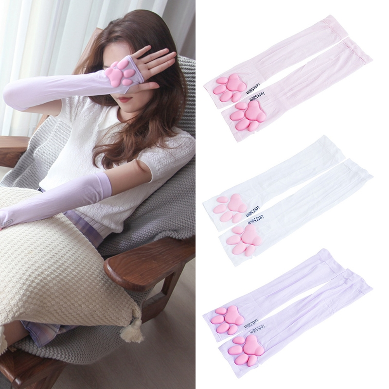 Cooling Cute Cat Claw Fingerless Arm Sleeves Ice Tattoo Cover Up Sun Protection Cartoon Arm Covers Cosplay Kawaii Gloves