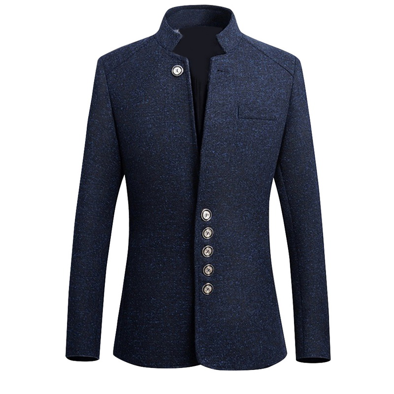 Men's Blazer Coats Chinese Style Business Casual Suit Male Spring Autumn Solid Blazers Long Sleeve Stand Collar Button Suit Coat