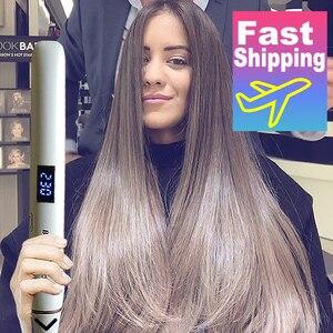 Image 1 - מקצועי שיער מחליק Curler ברזל שטוח שלילי יון שרביט Straighting יונית קרלינג ברזל גלי מלחץ