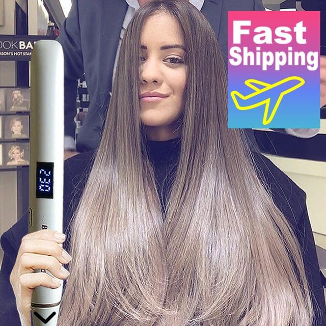 מקצועי שיער מחליק Curler ברזל שטוח שלילי יון שרביט Straighting יונית קרלינג ברזל גלי מלחץ