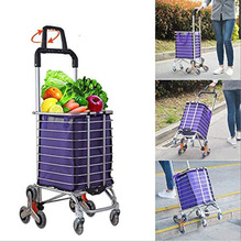 Folding Shopping Cart Portable Grocery Utility Lightweight Stair Climbing Cart with Rolling Swivel Wheel Folding Trailer Trolley
