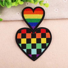 Colour loving heart patches for clothing iron on embroidered appliques sew clothes patch sewing accessories DIY Love