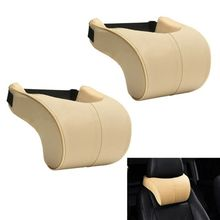 1 Or 2PCS New Beige Genuine Leather Car Seat Neck Rest Headrest Double Layer Pillow