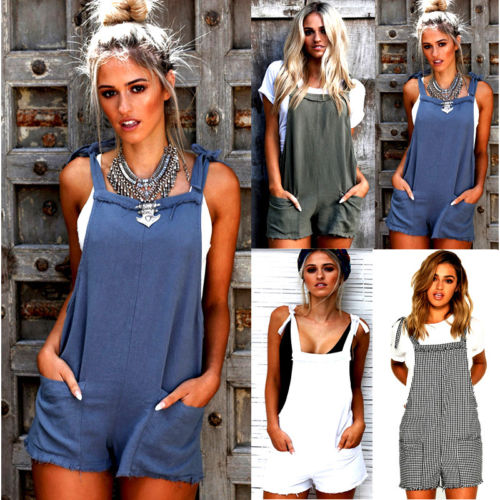 Fashion Women Casual Playsuit Ladies Jumpsuit Pocket Romper Summer Beach Romper Striped Playsuit